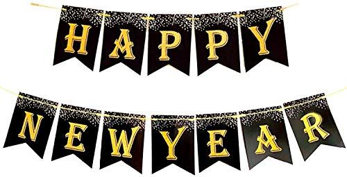 Happy New Year 2021 Banner – Large Size, No DIY Real Glitter | New Years Eve Party Supplies 2021 | Happy New Year Party Decorations | NYE Decorations | Happy New Year Sign | New Years Eve Decorations