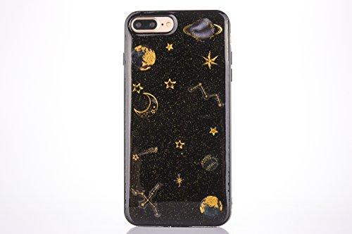 Coque étui pour iPhone 7 Plus, Couverture pour iPhone 8 Plus, CrazyLemon 3D Motif en Relief Conception Vernis Souple TPU Silicone Gel Coque pour iPhone 7 Plus / 8 Plus - Planète Noir