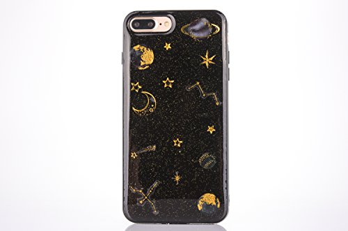 CrazyLemon Coque étui pour iPhone 7 Plus, Couverture pour iPhone 8 Plus, 3D Motif en Relief Conception Vernis Souple TPU Silicone Gel Coque pour iPhone 7 Plus / 8 Plus - Planète Noir