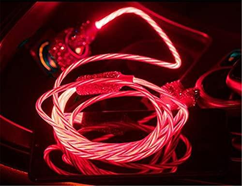 Cable de Carga Multifunción USB,MoreChioce 3 en 1 Cargador Rápida Multi USB Cargador con Crystal Cable USB Compatible con 12 11 8 7 6 S20 S10 S9 S8 S7 A5 J5,Rojo