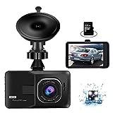 Dash CAM Delantera y Trasera, 3 Pulgadas Cámara Automóvil 1080P Full HD con 170° Gran Ángulo G-Sensor, Monitor Aparcamiento, Grabación Bucle, Detector Movimiento, Visión Nocturna, Tarjeta SD de 32 GB