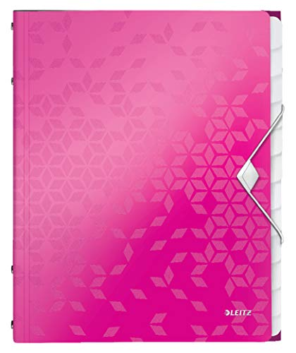 Leitz 46340023 Ordnungsmappe WOW, 12 Fächer, PP, pink metalllic