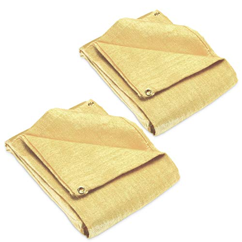2 pack - Welding Blanket 4x6 Fiberglass. Cover, Retardant | Fireproof. Thermal resistant insulation. Brass grommets for easy Hanging and Protection