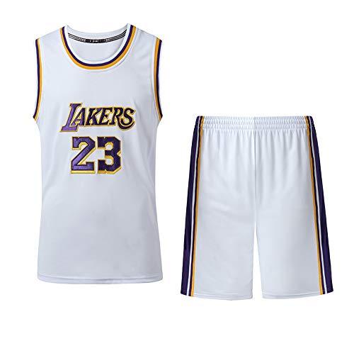 Verwendet für Nr. 23 Lebron James Fans Los Angeles Lakers Jungen Mädchen Basketball Jersey Sets Basketball Uniformen Kinder Sommer Weste Shirts Shorts Set-White-XS