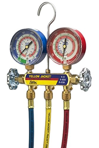 YELLOW JACKET 42004 Series 41 Manifold with 3-1/8' Gauges with Hoses