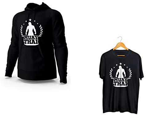 Kit Blusa Moletom Muay Thai e Camiseta Preto Unissex Tamanho:M
