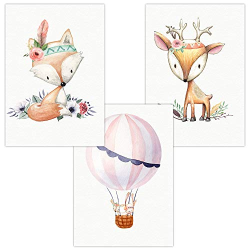 Wandbilder 3er Set für Baby & Kinderzimmer Deko Poster Bilder | Kunstdruck DIN A4 ohne Rahmen und Dekoration (Cute Boho