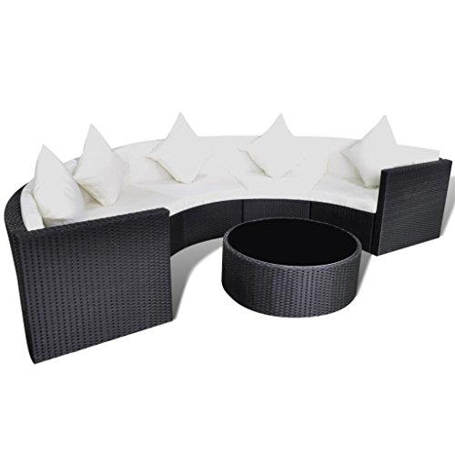 SSITG Conjunto de muebles de jardín de ratán sintético semicircular