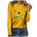Andouy Damen Oberteile Modisch Drucken Basic Sweatershirts Langarm Rundhals Pullover Weiche Bluse(2XL.Gelb-5)