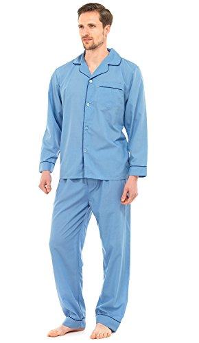 Herren Schlafanzug - Klassisches Design - Hemd & Hose - Einfarbig Blau - M