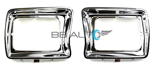 OE Replacement New Chrome Headlight Bezels Trim Set Direct Replacement for 1978-1979 Ford F150 Truck (Partslink Number FO2512114, FO2513115)