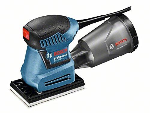 Bosch Professional 06012A2200 Schwingschleifer GSS 160-1 A, Staubbox inklusiv Microfilter, Schleifblatt, 1 x Schleifplatte, Karton, 180 W, 230 V, Mehrfarben