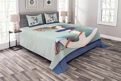 ABAKUHAUS Anker Tagesdecke Set, Anker und Seil-Motiv, Set mit Kissenbezügen farbfester Digitaldruck, für Doppelbetten 220 x 220 cm, Blau