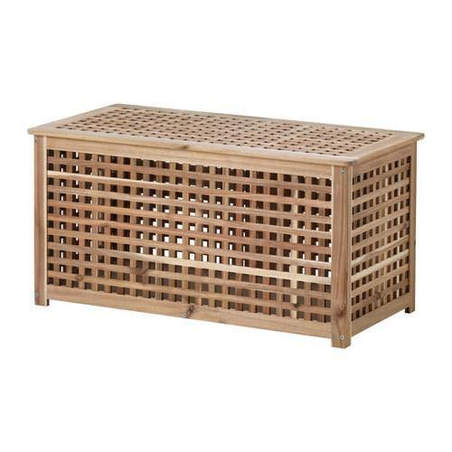 Ikea - Tavolo portaoggetti ASIA HOL, in Acacia, 38,6 x 49,7 x 49,7 cm