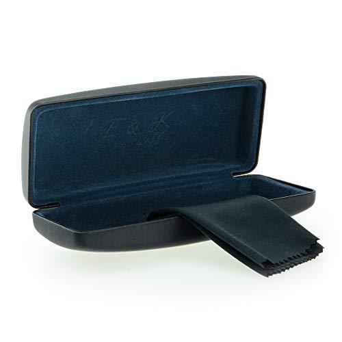 Edison & King Resistente Estuche para Gafas en Muchos Colores. También apropiado como Estuche para Gafas de Sol. Incluye paño para Limpieza de Gafas Gratis (Negro/Azul)