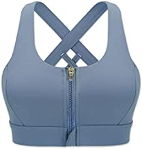 Cordaw Zipper in Front Sports Bra High Impact Strappy Back Support Workout Top, Blue Medium