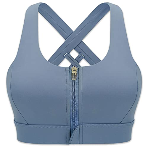 Cordaw Zipper in Front Sports Bra High Impact Strappy Back Support Workout Top, Blue XL
