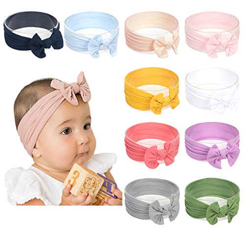 Baby Girl Nylon Headbands Newborn Infant Toddler Hairbands Knotted Children Soft Headwrap Hair Accessories (A-10pack-mul1)