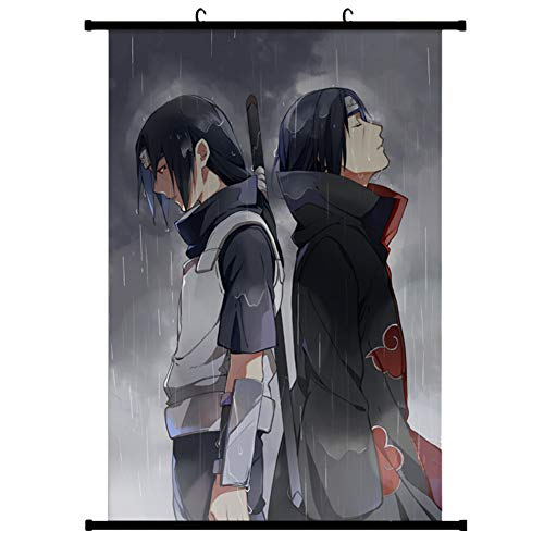 Sportstorm Naruto Poster Stoff Schriftrolle Gemälde Wandbild Naruto Anime Charaktere Uchiha Itachi Sasuke Wandrolle Hängende Dekor(Style 01)