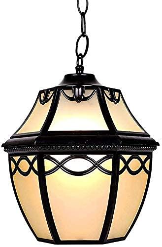 Woondecoratie Lampen Buiten Binnen Hanglamp Zwart Aluminium en Glazen Kap Buiten Hanglamp Waterdicht IP23 E27 Hanglampen In hoogte verstelbare Tuinverlichting Paviljoen Druif Fra