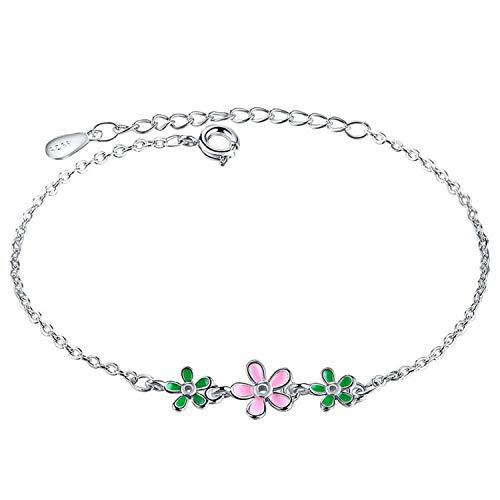 Wiftly 1 Pcs Damen 925 Sterling Silver Happiness Boutique Damen Süße Blätter Armband Anti-Allergie