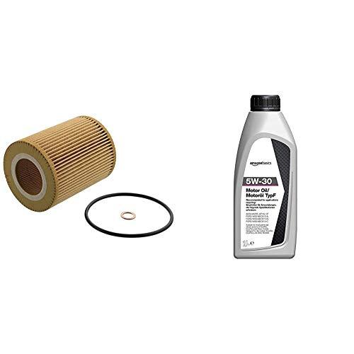 febi bilstein 26686 Ölfilter mit Dichtringen , 1 Stück & Amazon Basics – Motorenöl 5W-30 Typ F, 1 l
