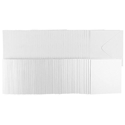 Klappkarten-Set blanko | Premium-Perlmutt-Papier | 50 Faltkarten (270 g/m²) & 50 Umschläge (120 g/m²) | Grußkarten & Einladungskarten für Hochzeit & Geburtstag selber basteln | 16 x 16 cm | weiß