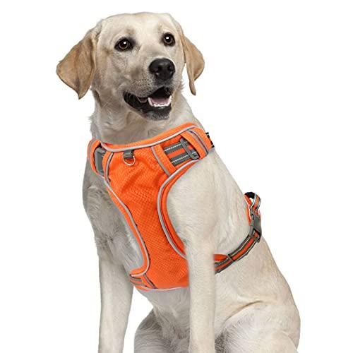 Arnés para perro, correa de PET sin tirar (con 2 clips para cinturón), chaleco acolchado ajustable para perro, impermeable, reflectante no bloqueo, chaleco Oxford (fácil de poner y quitar) (naranja, grande)