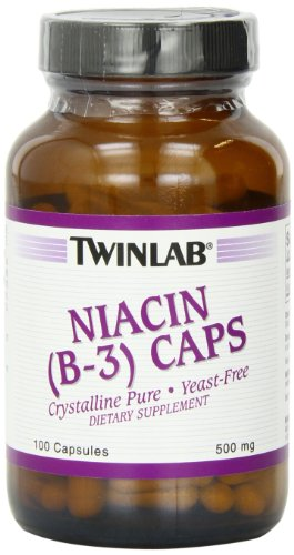 Twinlab Niacin (B-3) 500mg, 100 Capsules (Pack of 4)