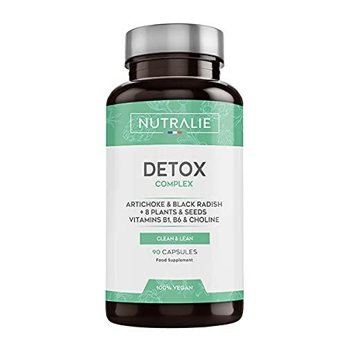 Detox Potente Hígado | Plan Detox Adelgazante y Diurético Vegano | Cleanser para Eliminar Toxinas con Alcachofa, Rábano Negro, Vitaminas y +8 Plantas y Semillas | 90 Cápsulas Veganas Nutralie