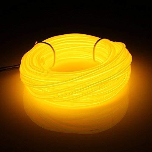 16 pieds 5m Portable EL Wire Fil néon Light Etincelant Fil Electroluminescent Rope 3 Modesavec la boîte à pile,Halloween, Noël, mariage, voiture, intérieur, extérieure décoration(Jaune)