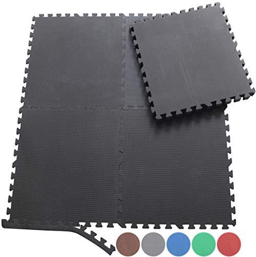 Sporttrend 24 - Schutzmatten Set 4-72teilig schwarz und braun 60x60x1cm | Bodenschutzmatte Unterlegmatte für Fitnessgeräte Sportgeräte (8 Endstücke, Holzoptik (dunkel))
