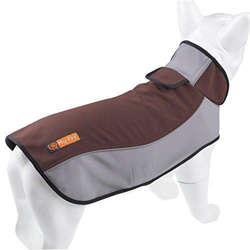 PALMFOX Hunderegenmantel Wasserdicht Atmungsaktiv Mantel Winterjacke Haustier Weste Veste Regenjacke für Kleine/Mittlere/Große Hunde mit Bauchschutz Brown M