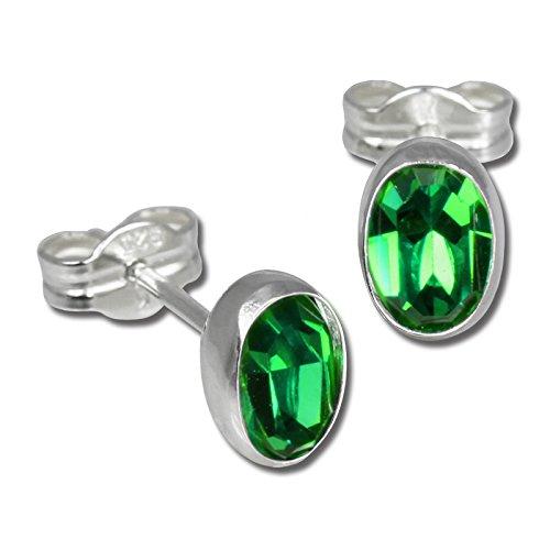 SilberDream Ohrringe Damen 925 Silber Ohrstecker oval Zirkonia grün SDO552G