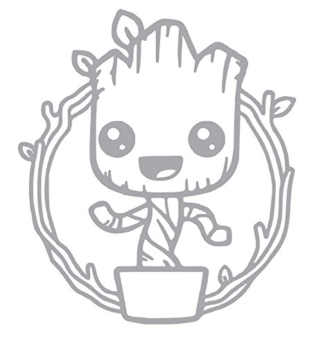 BABY GROOT Dancing Cute Vinyl Sticker Decals for Car bumper window macbook pro laptop iPad iPhone (4' x 3.5', Silver)