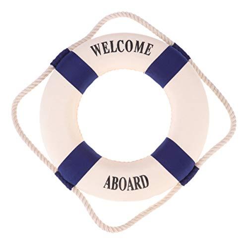 Amosfun Adorno Decoración Náutico De Pared Colgante Bienvenida Boya Salvavida para Hogar Tienda Bar Puerta 25 cm (Azul)