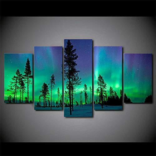 IIIUHU 5 Piezas Cuadro sobre Lienzo De Fotos Bosque Verde de la Aurora Boreal Lienzo Impresión Cuadros Decoracion Salon Grandes Cuadros para Dormitorios Modernos Mural Pared Listo para Colgar