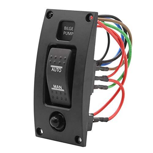 Camisin Interruptor de Bomba Achique de 12-24V Panel de Control de Cubierta de Barco Impermeable con Alarma para Bombas de Achique de Barco Panel de Interruptor Encendido/Apagado/Encendido