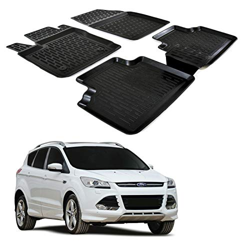 Black Edging Tailored Car Mats Compatible to fit Ford Kuga 2012 to 2015 with Unique Logos 2 fixing clips