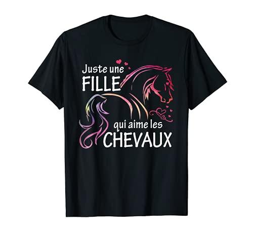 Tee Shirt Cheval femme fille cadeau chevaux cavaliers T-Shirt
