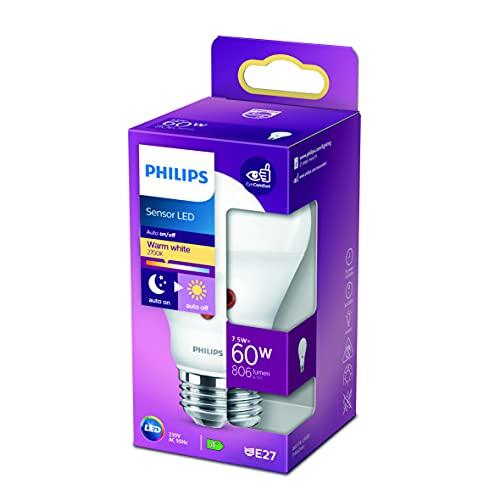 Philips Lighting Lampadina LED con Sensore Crepuscolare, Equivalente a 60W, Attacco E27, non Dimmerabile, Luce Bianca Calda