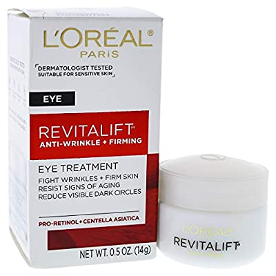 L'Oreal Paris Skincare Revitalift Anti-Wrinkle and Firming Eye Cream Treatment with Pro-Retinol Fragrance Free 0.5 oz.
