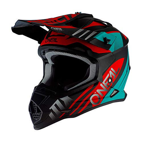 O\'Neal 2Series Unisex Offroad-Helm im Spyde-Style, Schwarz/Hi-Viz, Größe M, Offroad, Mittel, Schwarz/Petrol/Rot