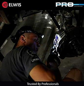 Elwis H2-r Pro LED Lampe Frontale Rechargeable avec 2Modes de Sortie de lumière, Noir/Rouge
