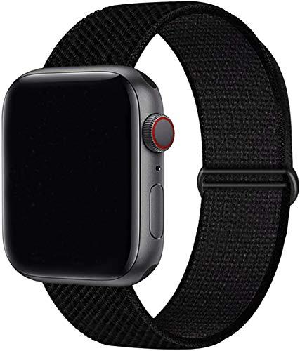 Tervoka Kompatibel mit Apple Watch Armband 40mm 38mm, Nylon Sport Armband Ersatzband für iWatch Armband Series 6/5/4/3/2/1, Dunkel Schwarz