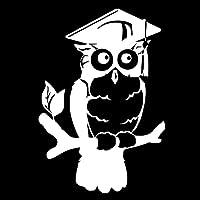 車用ステッカー・デカール 11.4cmx16.5cmフクロウ鳥の漫画のカーアクセサリーカーステッカー BJRHFN (Color : White)