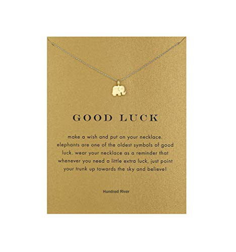 Baydurcan Friendship Elephant Necklace Unicorn Good Luck Elephant Cross Necklace with Message Card Gift Card (gold elephant s1)