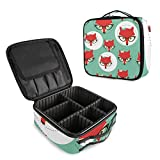 ALAZA Fox Face in Glasses Makeup Cosmetic Case Organizer Portable Storage Bag Travel Makeup Train Case with Adjustable Dividers