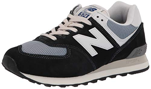 New Balance mens Iconic 574 V2 Sneaker, Black/Reflection, 4 US