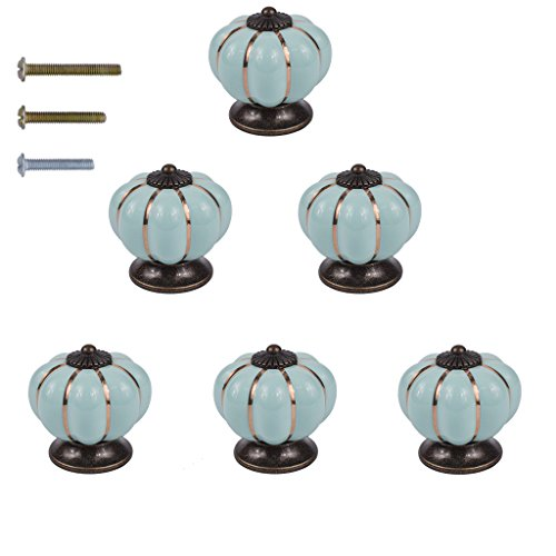 HanLingGG Vintage Ceramic Pumpkin Door Knobs 6 Pack Kitchen Cabinet Drawer Dresser Cupboard Pull Handle Knob with 3 Kinds of Screws (Light Teal)